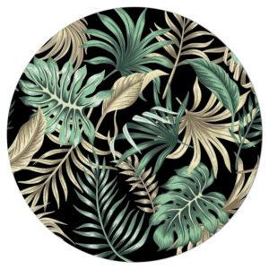 Muurcirkel - Tropische palmbladeren zwart