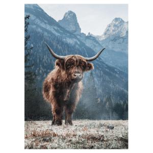 Tuindoek - Tuinposter Schotse Hooglander berg