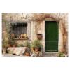 Tuindoek - Tuinposter Frans huisje met groene deur